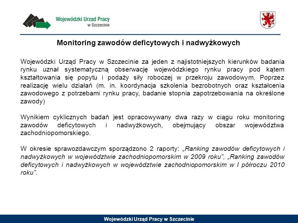 Wojewódzki Urząd Pracy w Szczecinie Monitoring zawodów deficytowych i nadwyżkowych Wojewódzki Urząd Pracy w Szczecinie za jeden z najistotniejszych ki