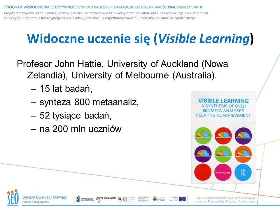 Widoczne uczenie się (Visible Learning) Profesor John Hattie, University of Auckland (Nowa Zelandia), University of Melbourne (Australia). –15 lat bad