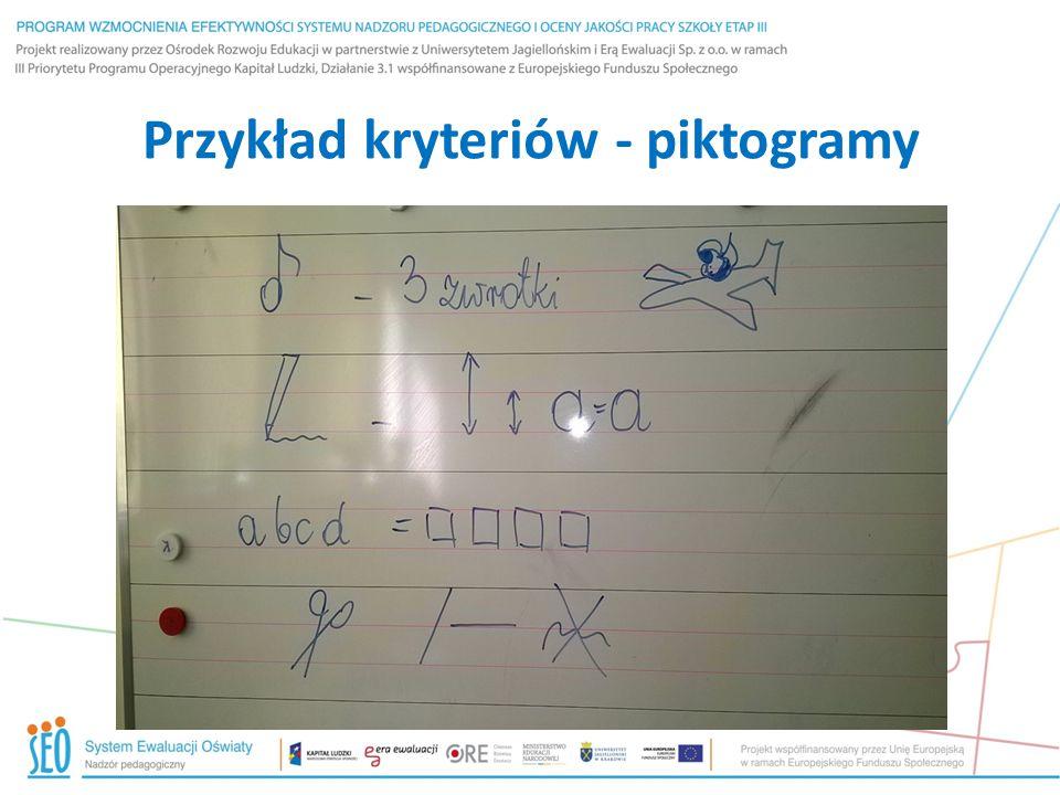 Przykład kryteriów - piktogramy
