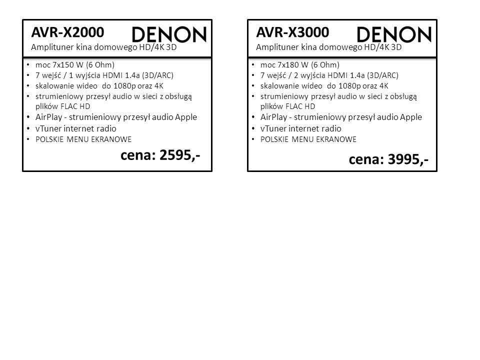 AVR-X2000 Amplituner kina domowego HD/4K 3D cena: 2595,- moc 7x150 W (6 Ohm) 7 wejść / 1 wyjścia HDMI 1.4a (3D/ARC) skalowanie wideo do 1080p oraz 4K strumieniowy przesył audio w sieci z obsługą plików FLAC HD AirPlay - strumieniowy przesył audio Apple vTuner internet radio POLSKIE MENU EKRANOWE AVR-X3000 Amplituner kina domowego HD/4K 3D cena: 3995,- moc 7x180 W (6 Ohm) 7 wejść / 2 wyjścia HDMI 1.4a (3D/ARC) skalowanie wideo do 1080p oraz 4K strumieniowy przesył audio w sieci z obsługą plików FLAC HD AirPlay - strumieniowy przesył audio Apple vTuner internet radio POLSKIE MENU EKRANOWE