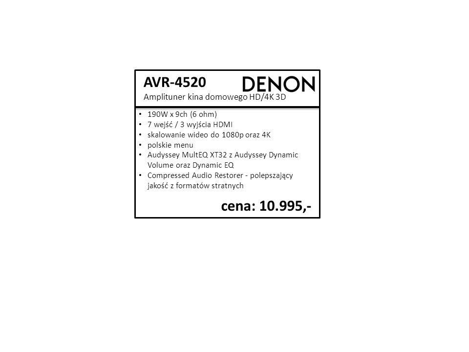 AVR-4520 Amplituner kina domowego HD/4K 3D cena: 10.995,- 190W x 9ch (6 ohm) 7 wejść / 3 wyjścia HDMI skalowanie wideo do 1080p oraz 4K polskie menu Audyssey MultEQ XT32 z Audyssey Dynamic Volume oraz Dynamic EQ Compressed Audio Restorer - polepszający jakość z formatów stratnych