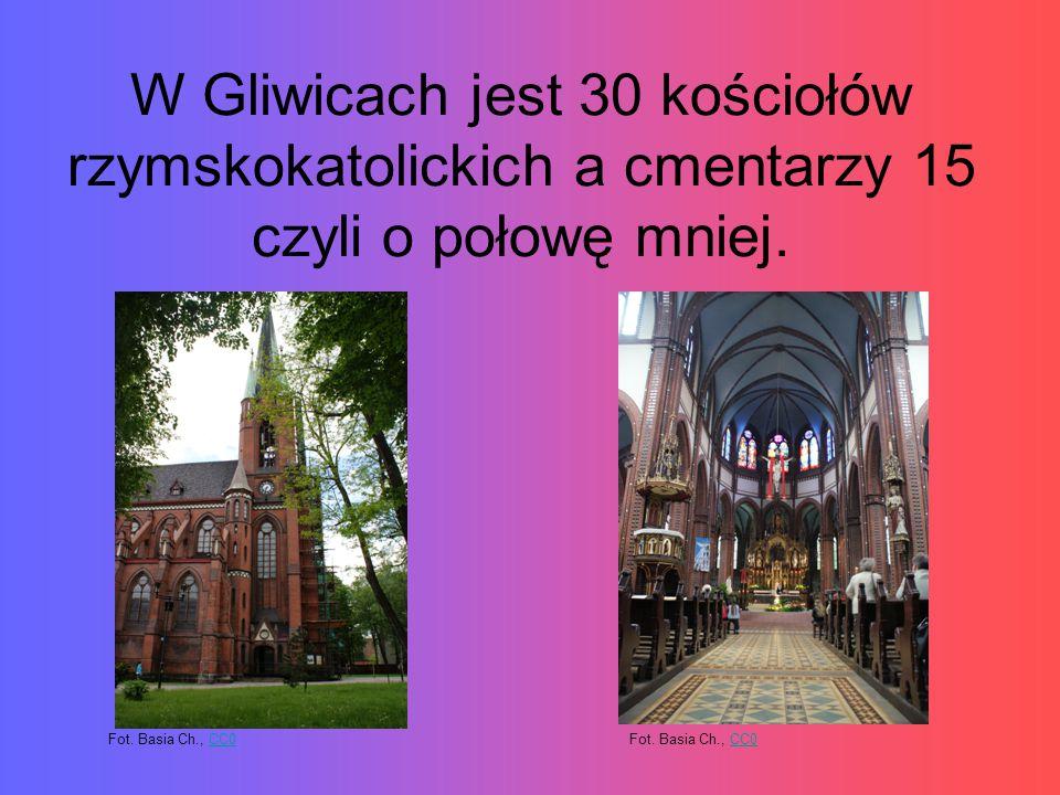 W Gliwicach jest 30 kościołów rzymskokatolickich a cmentarzy 15 czyli o połowę mniej. Fot. Basia Ch., CC0CC0Fot. Basia Ch., CC0CC0