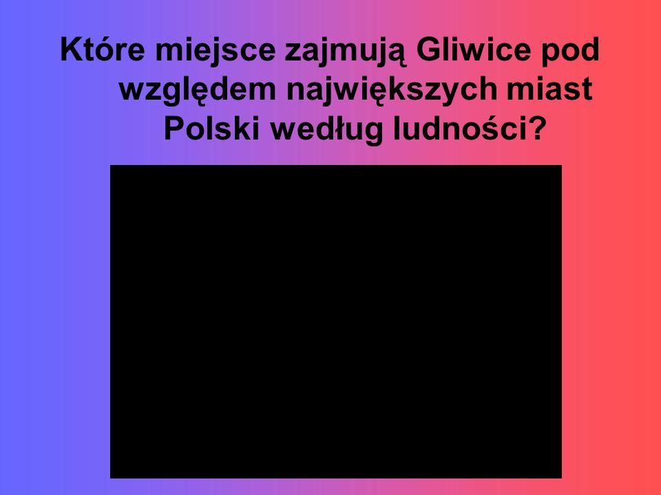 Które miejsce zajmują Gliwice pod względem największych miast Polski według ludności?