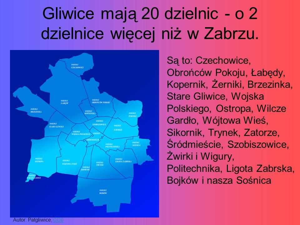 Gliwice mają 20 dzielnic - o 2 dzielnice więcej niż w Zabrzu. Są to: Czechowice, Obrońców Pokoju, Łabędy, Kopernik, Żerniki, Brzezinka, Stare Gliwice,