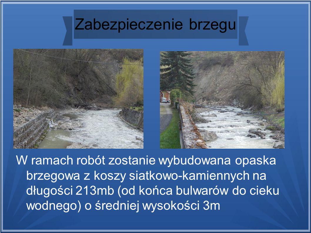Zabezpieczenie brzegu W ramach robót zostanie wybudowana opaska brzegowa z koszy siatkowo-kamiennych na długości 213mb (od końca bulwarów do cieku wodnego) o średniej wysokości 3m