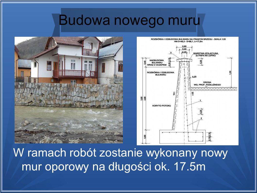 Budowa nowego muru W ramach robót zostanie wykonany nowy mur oporowy na długości ok. 17.5m