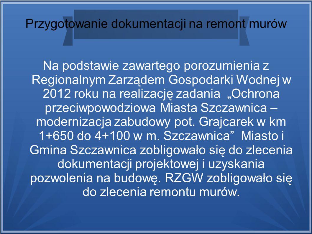 Przygotowanie dokumentacji na remont murów Na podstawie zawartego porozumienia z Regionalnym Zarządem Gospodarki Wodnej w 2012 roku na realizację zada