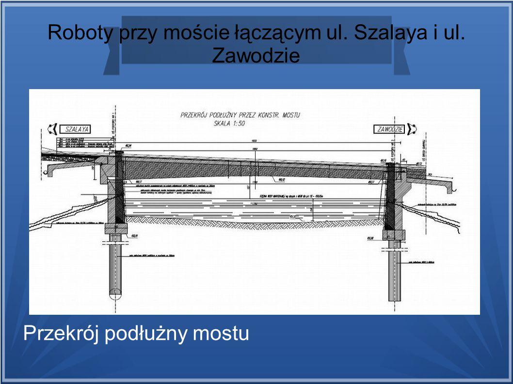 Roboty przy moście łączącym ul. Szalaya i ul. Zawodzie Przekrój podłużny mostu