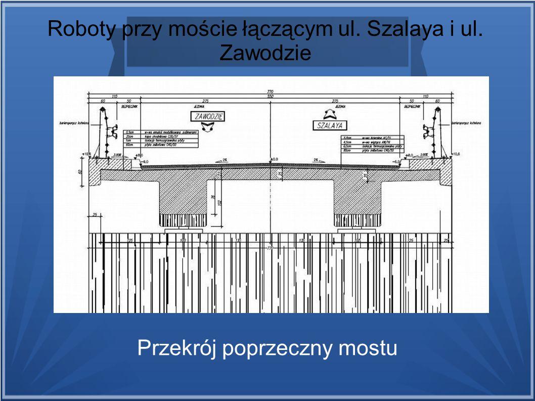 Roboty przy moście łączącym ul. Szalaya i ul. Zawodzie Przekrój poprzeczny mostu