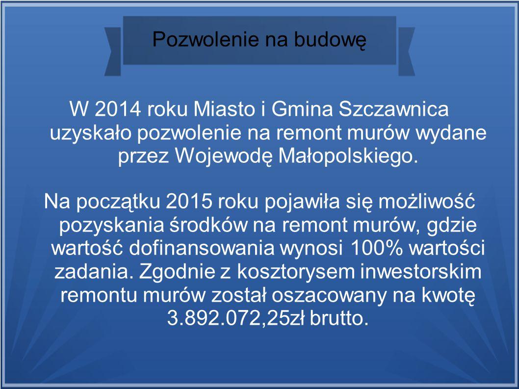 Pozwolenie na budowę W 2014 roku Miasto i Gmina Szczawnica uzyskało pozwolenie na remont murów wydane przez Wojewodę Małopolskiego.