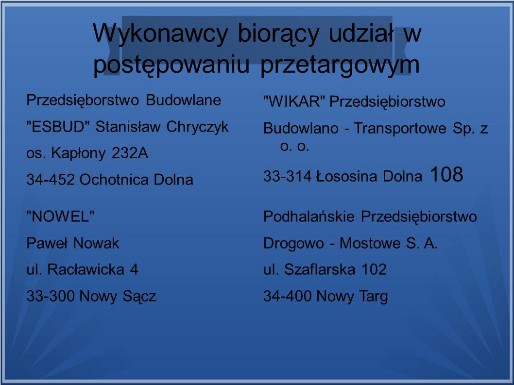 Wykonawcy biorący udział w postępowaniu przetargowym Przedsięborstwo Budowlane ESBUD Stanisław Chryczyk os.