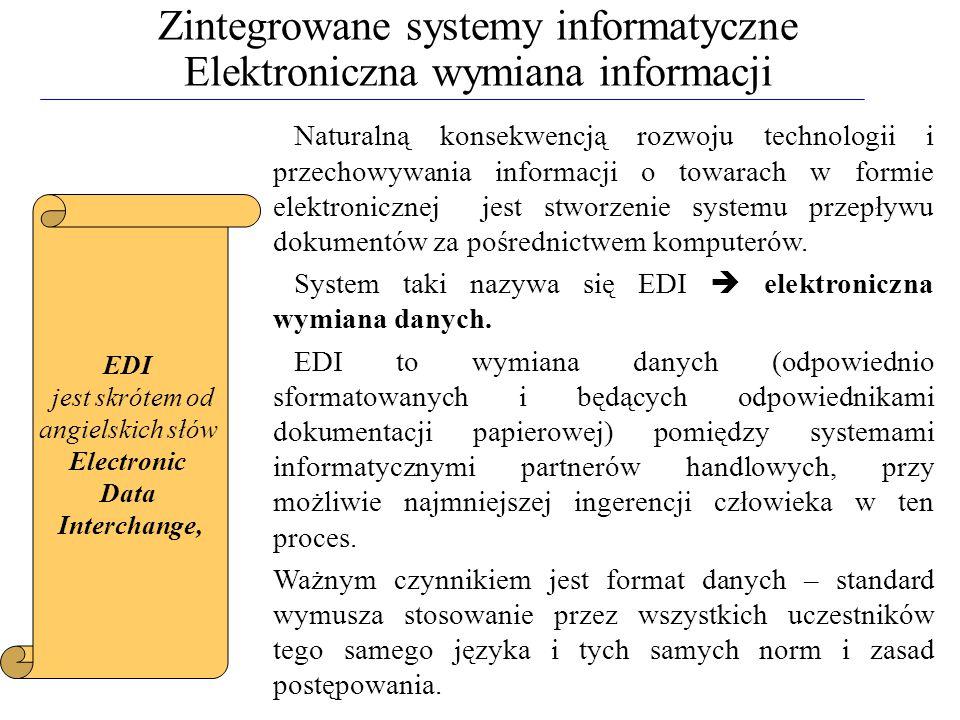 Zintegrowane systemy informatyczne Elektroniczna wymiana informacji Naturalną konsekwencją rozwoju technologii i przechowywania informacji o towarach