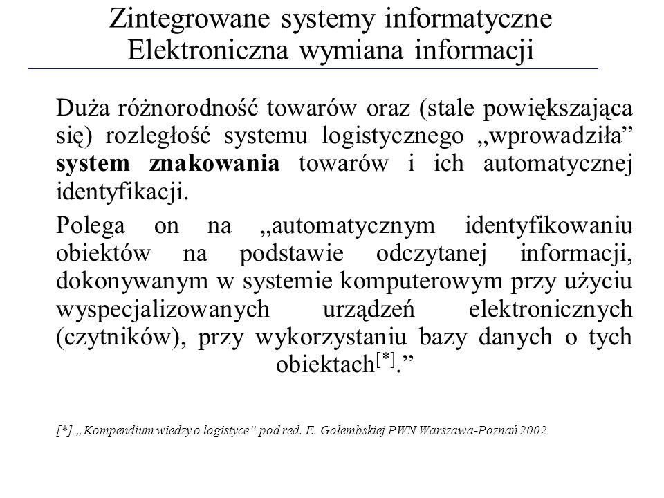 Zintegrowane systemy informatyczne Elektroniczna wymiana informacji Duża różnorodność towarów oraz (stale powiększająca się) rozległość systemu logist