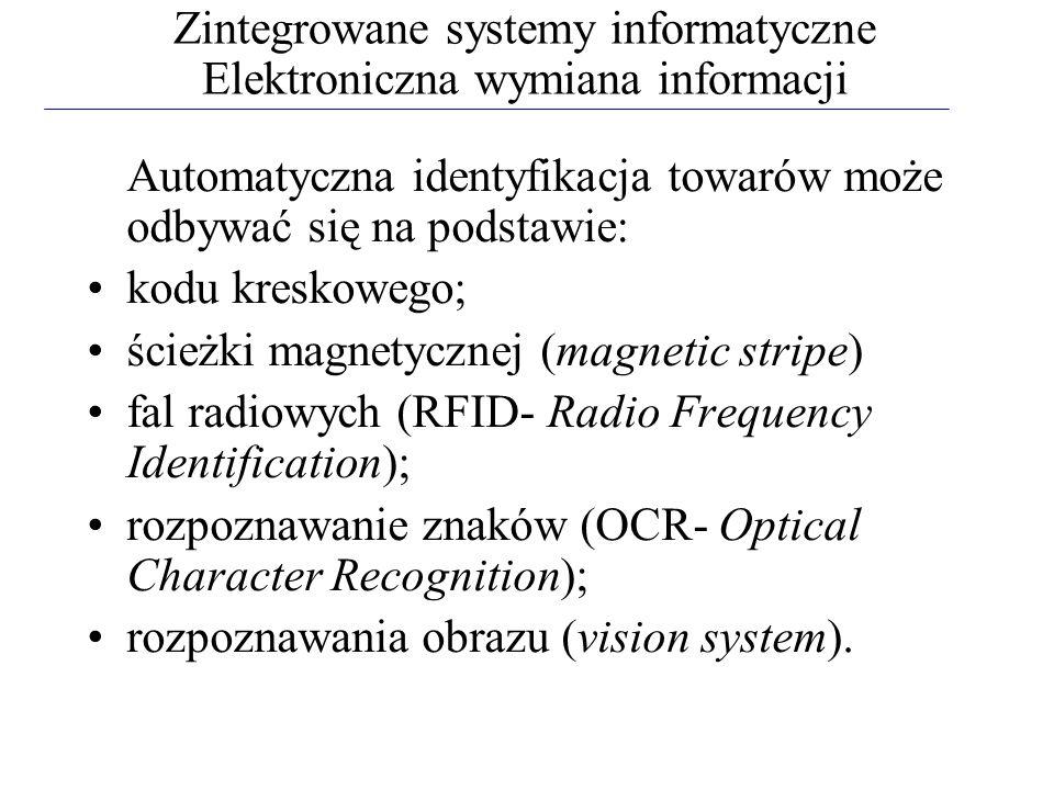 Zintegrowane systemy informatyczne Elektroniczna wymiana informacji Automatyczna identyfikacja towarów może odbywać się na podstawie: kodu kreskowego;