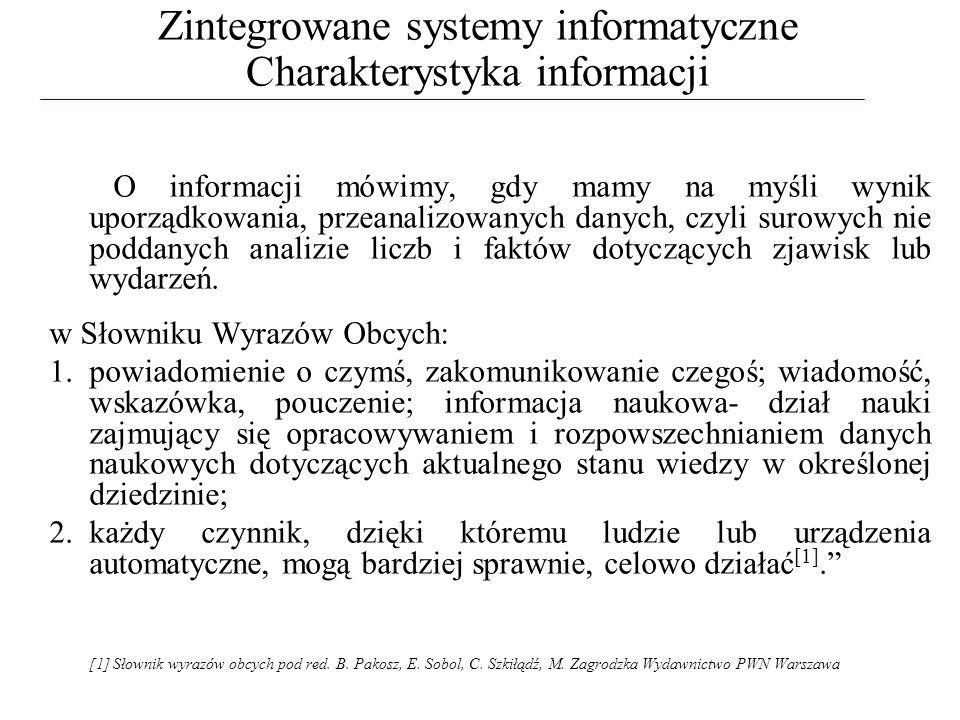Fazy procesu informacji: 1.generowanie informacji (produkcja) 2.gromadzenie informacji (zbieranie) 3.przechowywanie informacji (pamiętanie, archiwizowanie, magazynowanie) 4.przekazywanie informacji (transmisja) 5.przetwarzanie informacji (przekształcanie, transformacja) 6.udostępnianie informacji (upowszechnianie) 7.interpretacja informacji (translacja na język użytkownika) 8.wykorzystywanie informacji (użytkowanie) Procesy i systemy informacyjne w gospodarce są badane, projektowane i eksploatowane głównie przez informatyków.