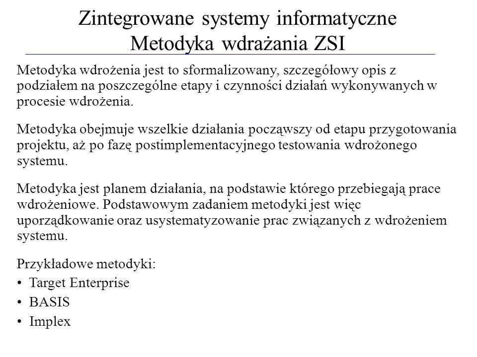 Zintegrowane systemy informatyczne Metodyka wdrażania ZSI Metodyka wdrożenia jest to sformalizowany, szczegółowy opis z podziałem na poszczególne etap