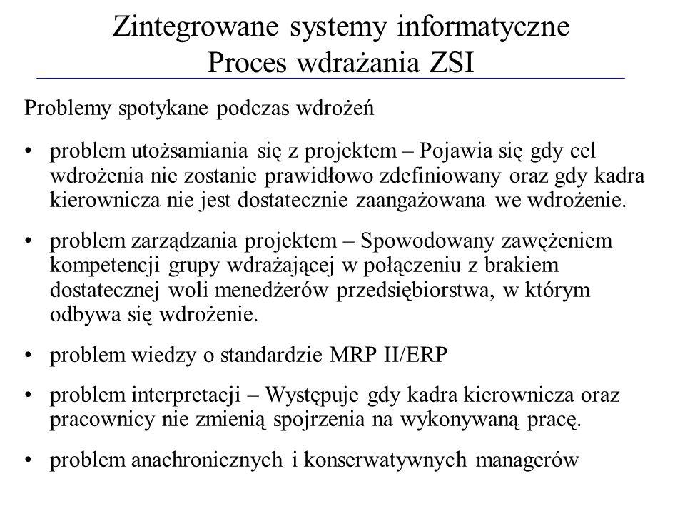Zintegrowane systemy informatyczne Proces wdrażania ZSI Problemy spotykane podczas wdrożeń problem utożsamiania się z projektem – Pojawia się gdy cel