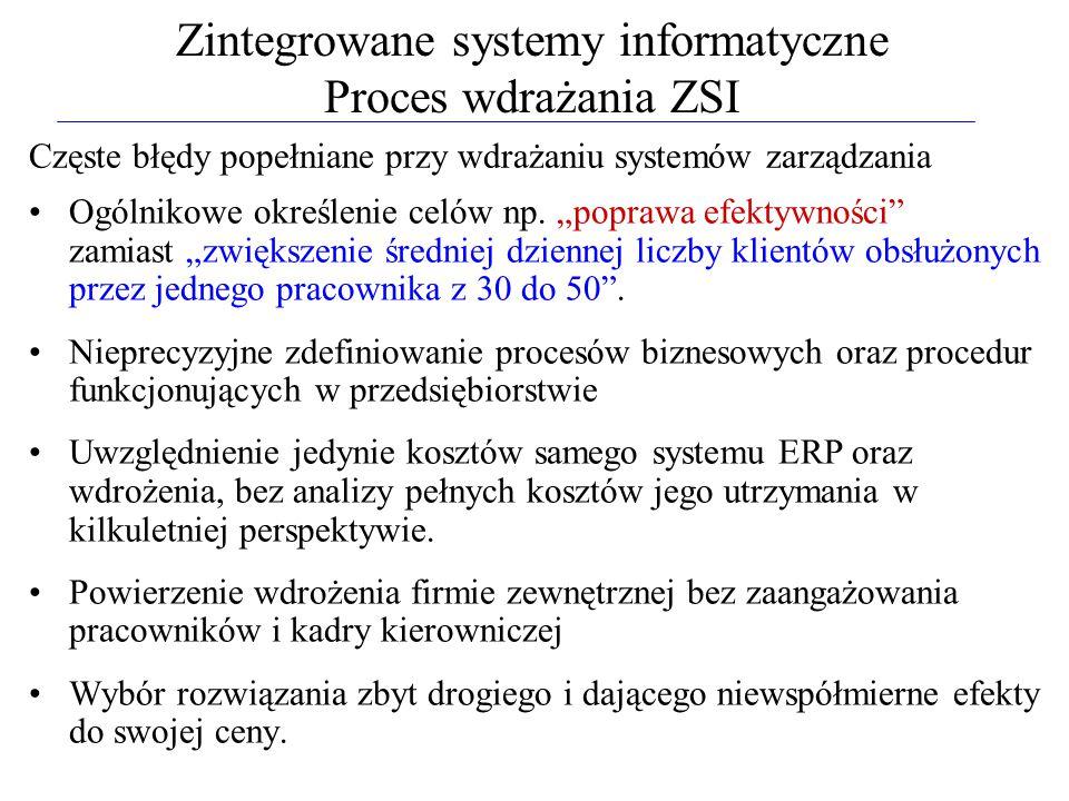 """Zintegrowane systemy informatyczne Proces wdrażania ZSI Częste błędy popełniane przy wdrażaniu systemów zarządzania Ogólnikowe określenie celów np. """"p"""