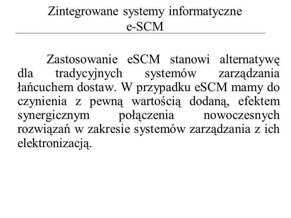 Zintegrowane systemy informatyczne e-SCM Zastosowanie eSCM stanowi alternatywę dla tradycyjnych systemów zarządzania łańcuchem dostaw. W przypadku eSC