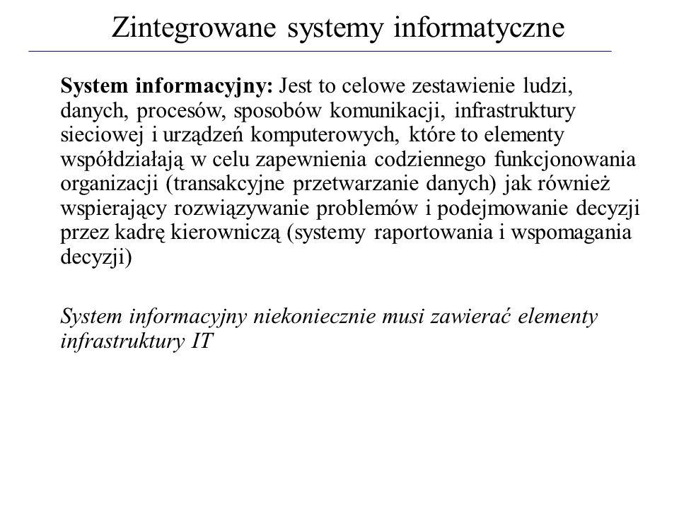 System informacyjny: Jest to celowe zestawienie ludzi, danych, procesów, sposobów komunikacji, infrastruktury sieciowej i urządzeń komputerowych, któr