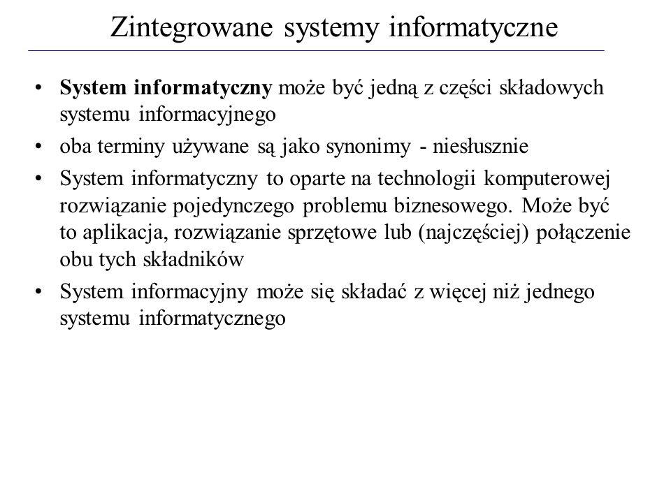System informatyczny może być jedną z części składowych systemu informacyjnego oba terminy używane są jako synonimy - niesłusznie System informatyczny