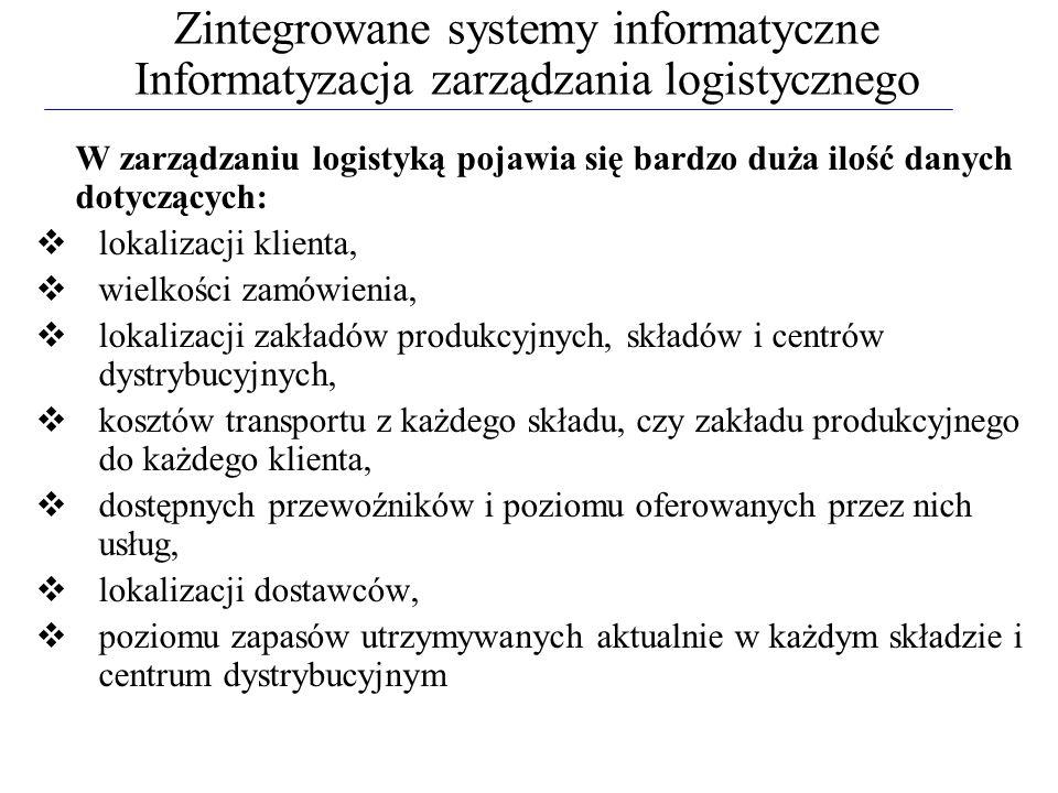 Zintegrowane systemy informatyczne Informatyzacja zarządzania logistycznego W zarządzaniu logistyką pojawia się bardzo duża ilość danych dotyczących: