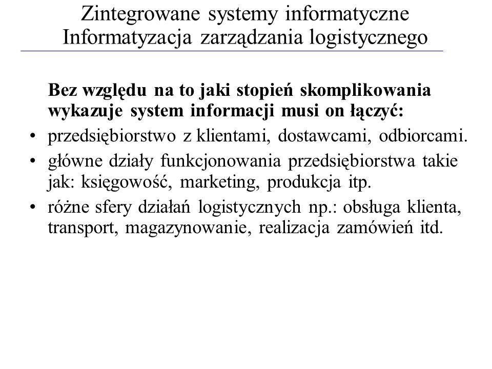 Zintegrowane systemy informatyczne Informatyzacja zarządzania logistycznego Bez względu na to jaki stopień skomplikowania wykazuje system informacji m