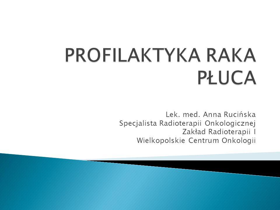 Lek. med. Anna Rucińska Specjalista Radioterapii Onkologicznej Zakład Radioterapii I Wielkopolskie Centrum Onkologii