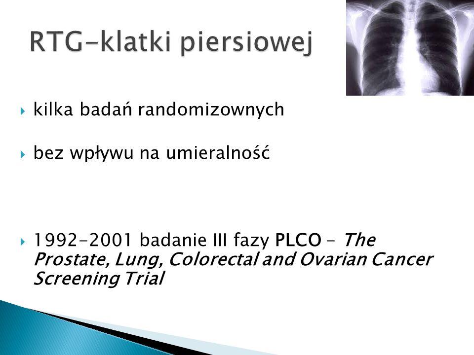  kilka badań randomizownych  bez wpływu na umieralność  1992-2001 badanie III fazy PLCO - The Prostate, Lung, Colorectal and Ovarian Cancer Screeni