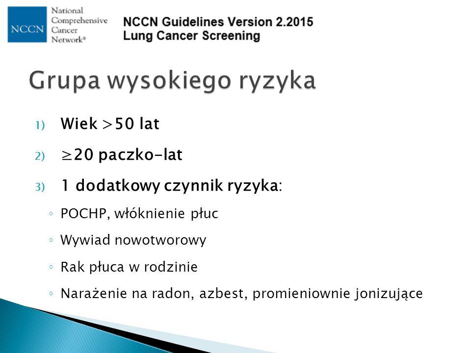 1) Wiek >50 lat 2) ≥20 paczko-lat 3) 1 dodatkowy czynnik ryzyka: ◦ POCHP, włóknienie płuc ◦ Wywiad nowotworowy ◦ Rak płuca w rodzinie ◦ Narażenie na r