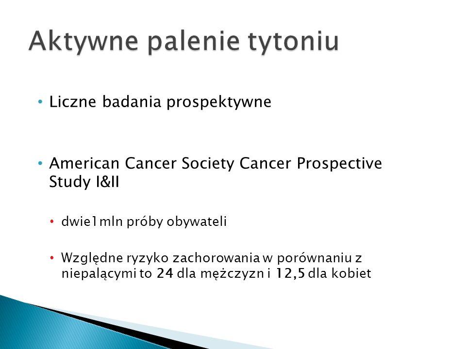 Liczne badania prospektywne American Cancer Society Cancer Prospective Study I&II dwie1mln próby obywateli Względne ryzyko zachorowania w porównaniu z