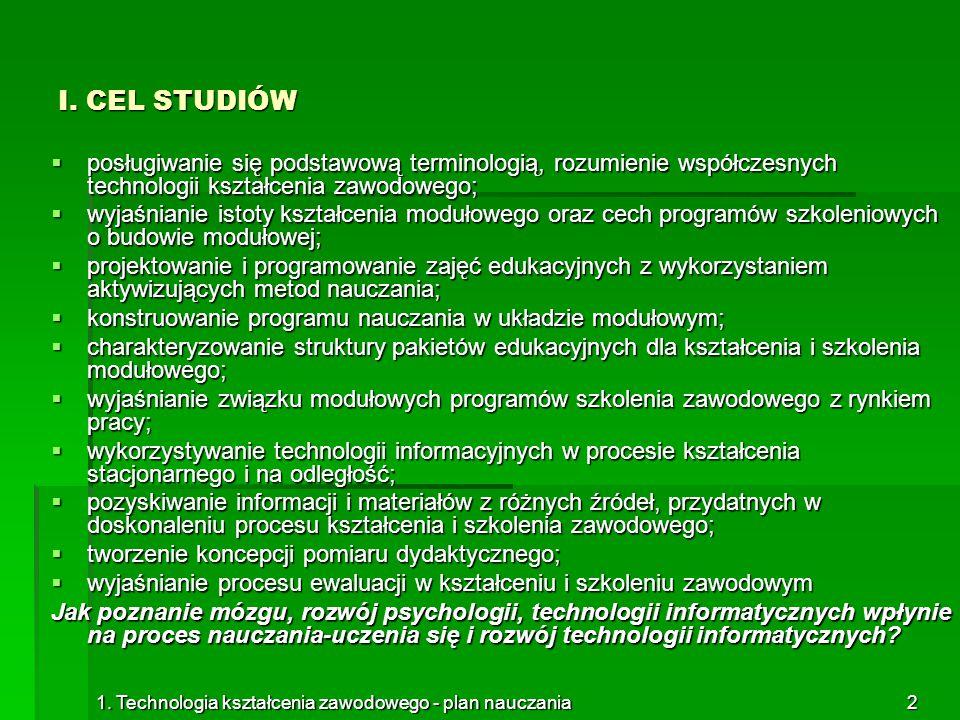 1. Technologia kształcenia zawodowego - plan nauczania2 I. CEL STUDIÓW  posługiwanie się podstawową terminologią, rozumienie współczesnych technologi