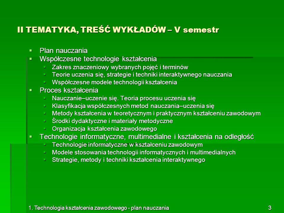 1. Technologia kształcenia zawodowego - plan nauczania3 II TEMATYKA, TREŚĆ WYKŁADÓW – V semestr  Plan nauczania  Współczesne technologie kształcenia