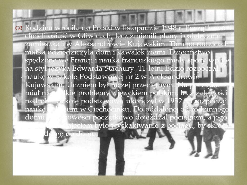   Rodzina wróciła do Polski w listopadzie 1948 r.