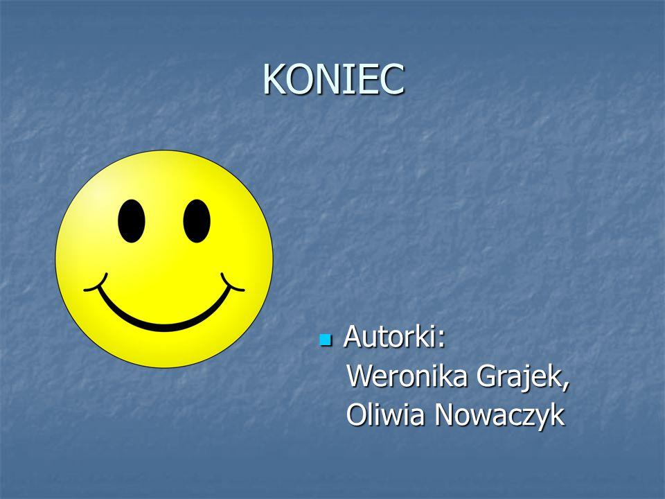 KONIEC Autorki: Autorki: Weronika Grajek, Weronika Grajek, Oliwia Nowaczyk Oliwia Nowaczyk