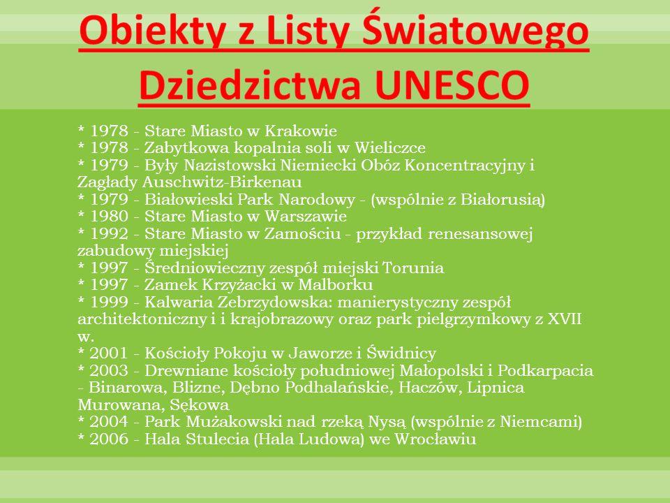 * 1978 - Stare Miasto w Krakowie * 1978 - Zabytkowa kopalnia soli w Wieliczce * 1979 - Były Nazistowski Niemiecki Obóz Koncentracyjny i Zagłady Auschw