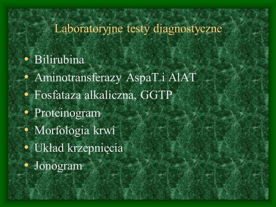 Laboratoryjne testy diagnostyczne Bilirubina Aminotransferazy AspaT i AlAT Fosfataza alkaliczna, GGTP Proteinogram Morfologia krwi Układ krzepnięcia Jonogram