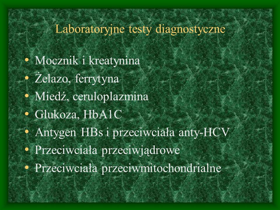 Laboratoryjne testy diagnostyczne Mocznik i kreatynina Żelazo, ferrytyna Miedź, ceruloplazmina Glukoza, HbA1C Antygen HBs i przeciwciała anty-HCV Przeciwciała przeciwjądrowe Przeciwciała przeciwmitochondrialne