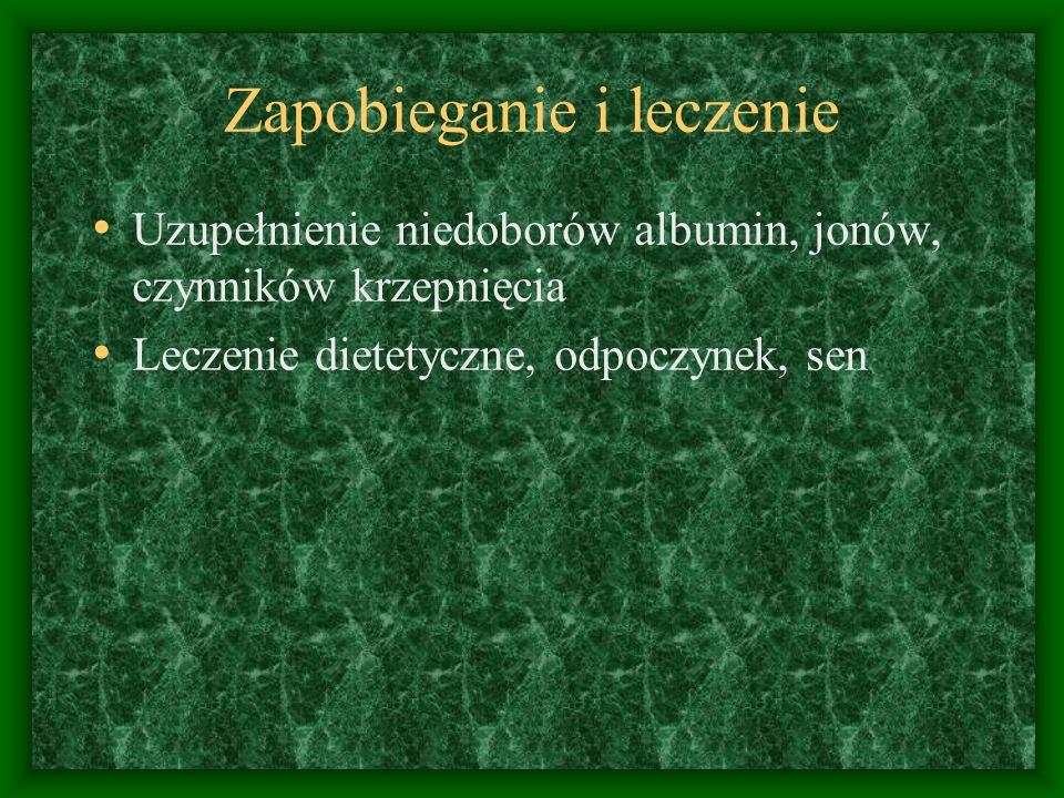 Zapobieganie i leczenie Uzupełnienie niedoborów albumin, jonów, czynników krzepnięcia Leczenie dietetyczne, odpoczynek, sen