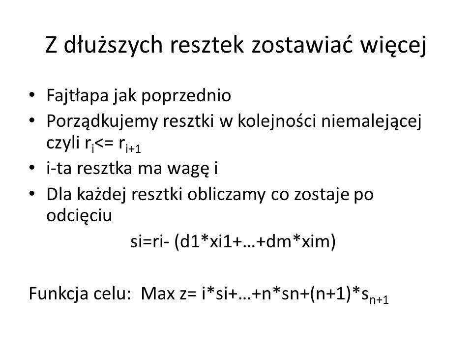 Z dłuższych resztek zostawiać więcej Fajtłapa jak poprzednio Porządkujemy resztki w kolejności niemalejącej czyli r i <= r i+1 i-ta resztka ma wagę i Dla każdej resztki obliczamy co zostaje po odcięciu si=ri- (d1*xi1+…+dm*xim) Funkcja celu: Max z= i*si+…+n*sn+(n+1)*s n+1