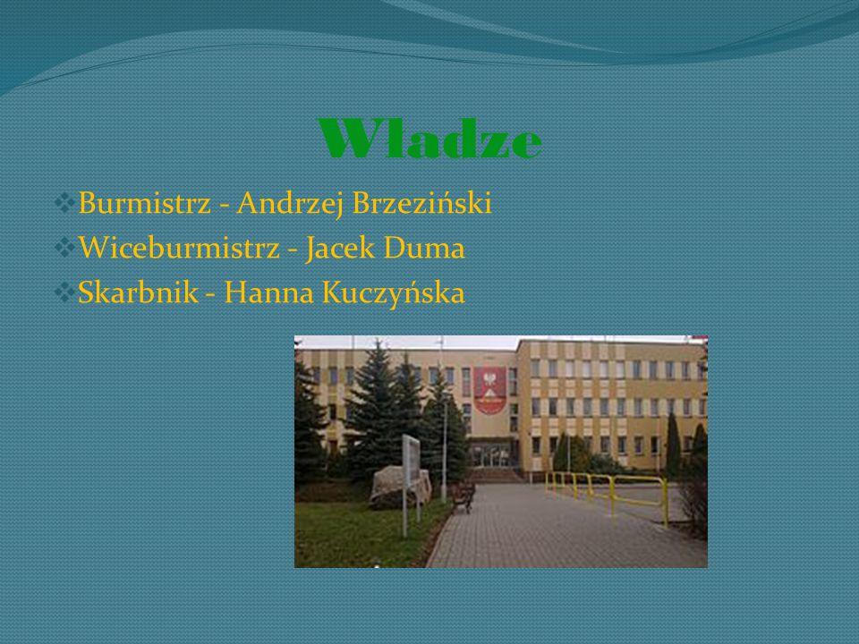 Władze  Burmistrz - Andrzej Brzeziński  Wiceburmistrz - Jacek Duma  Skarbnik - Hanna Kuczyńska