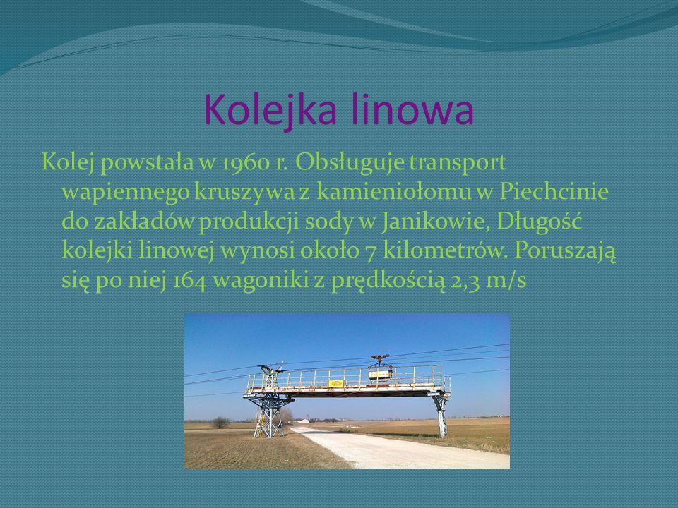 Kolejka linowa Kolej powstała w 1960 r. Obsługuje transport wapiennego kruszywa z kamieniołomu w Piechcinie do zakładów produkcji sody w Janikowie, Dł