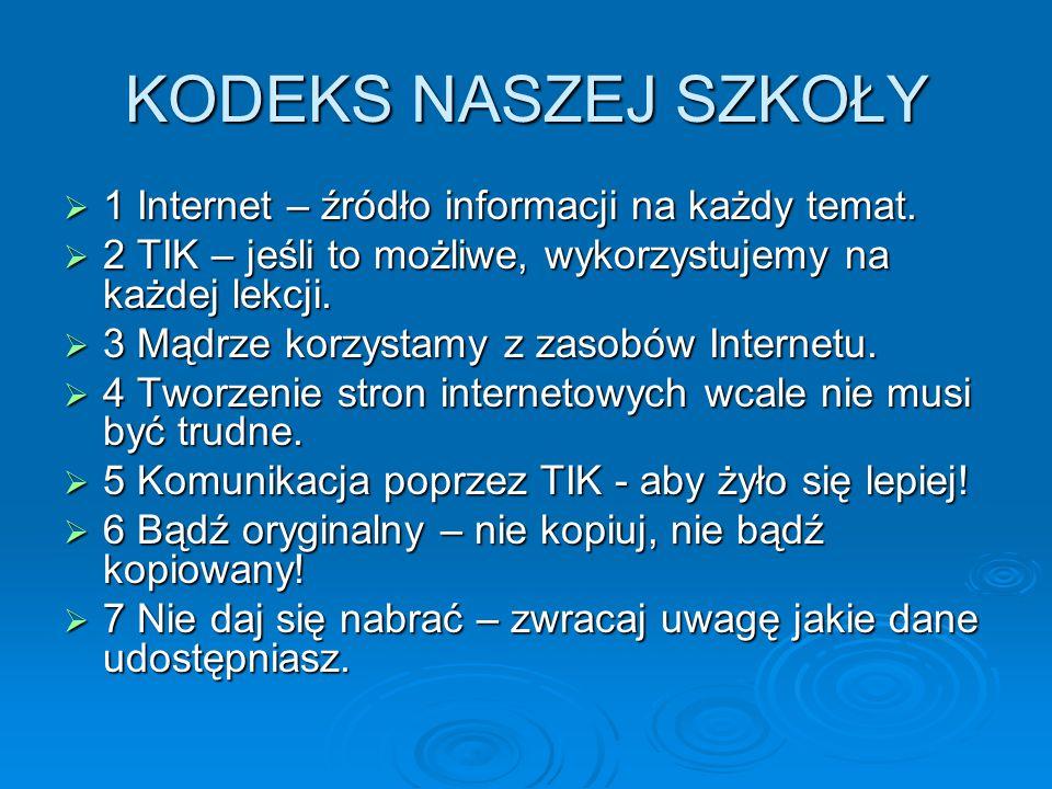 KODEKS NASZEJ SZKOŁY  1 Internet – źródło informacji na każdy temat.  2 TIK – jeśli to możliwe, wykorzystujemy na każdej lekcji.  3 Mądrze korzysta