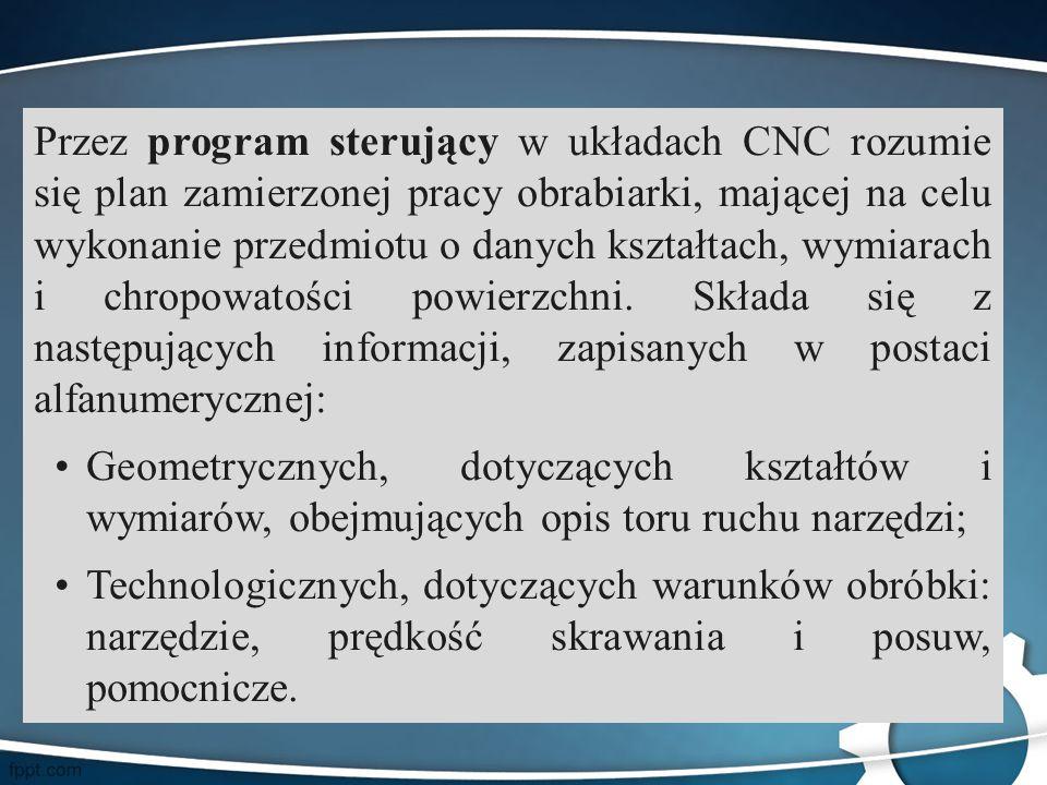 Przez program sterujący w układach CNC rozumie się plan zamierzonej pracy obrabiarki, mającej na celu wykonanie przedmiotu o danych kształtach, wymiar