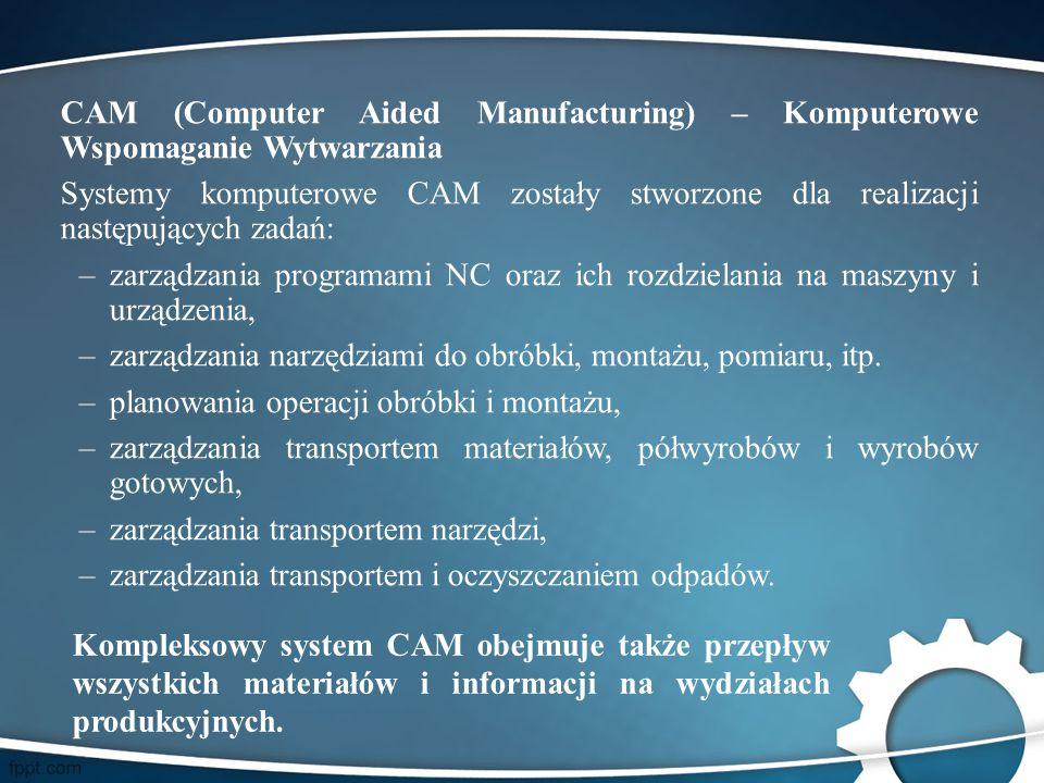 CAM (Computer Aided Manufacturing) – Komputerowe Wspomaganie Wytwarzania Systemy komputerowe CAM zostały stworzone dla realizacji następujących zadań: