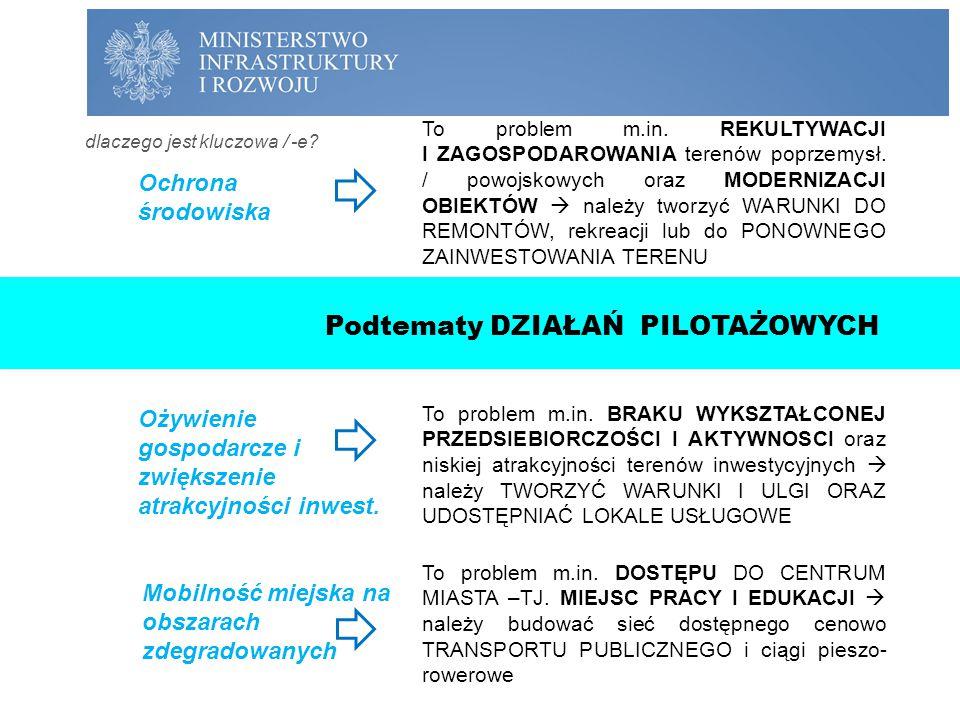 CZĘŚĆ II: PROJEKT PILOTAŻOWY Ożywienie gospodarcze i zwiększenie atrakcyjności inwest. Ochrona środowiska Mobilność miejska na obszarach zdegradowanyc