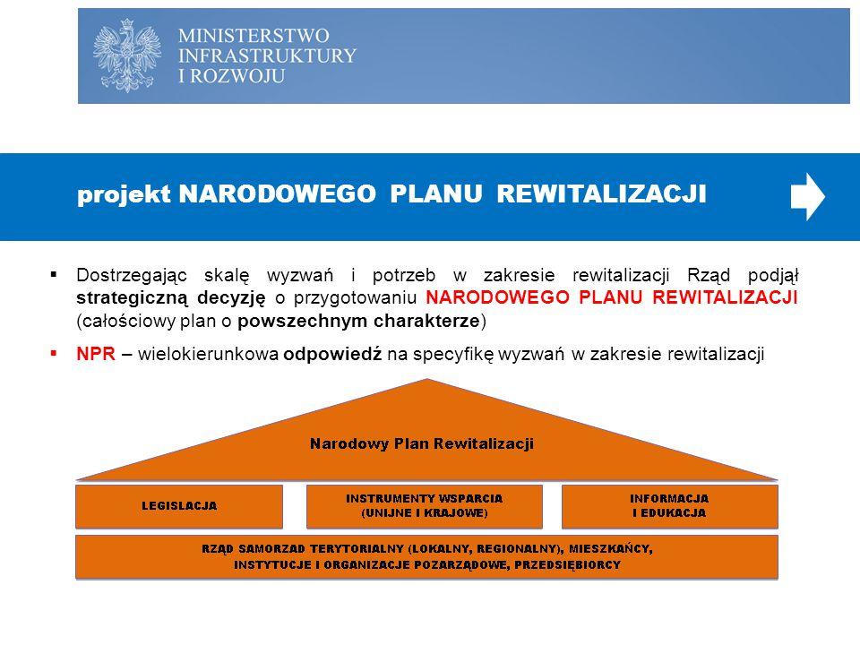  Dostrzegając skalę wyzwań i potrzeb w zakresie rewitalizacji Rząd podjął strategiczną decyzję o przygotowaniu NARODOWEGO PLANU REWITALIZACJI (całośc