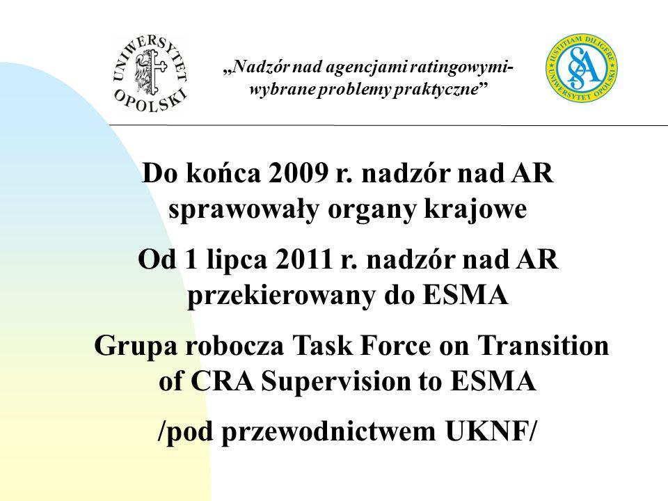 """""""Nadzór nad agencjami ratingowymi- wybrane problemy praktyczne Do końca 2009 r."""