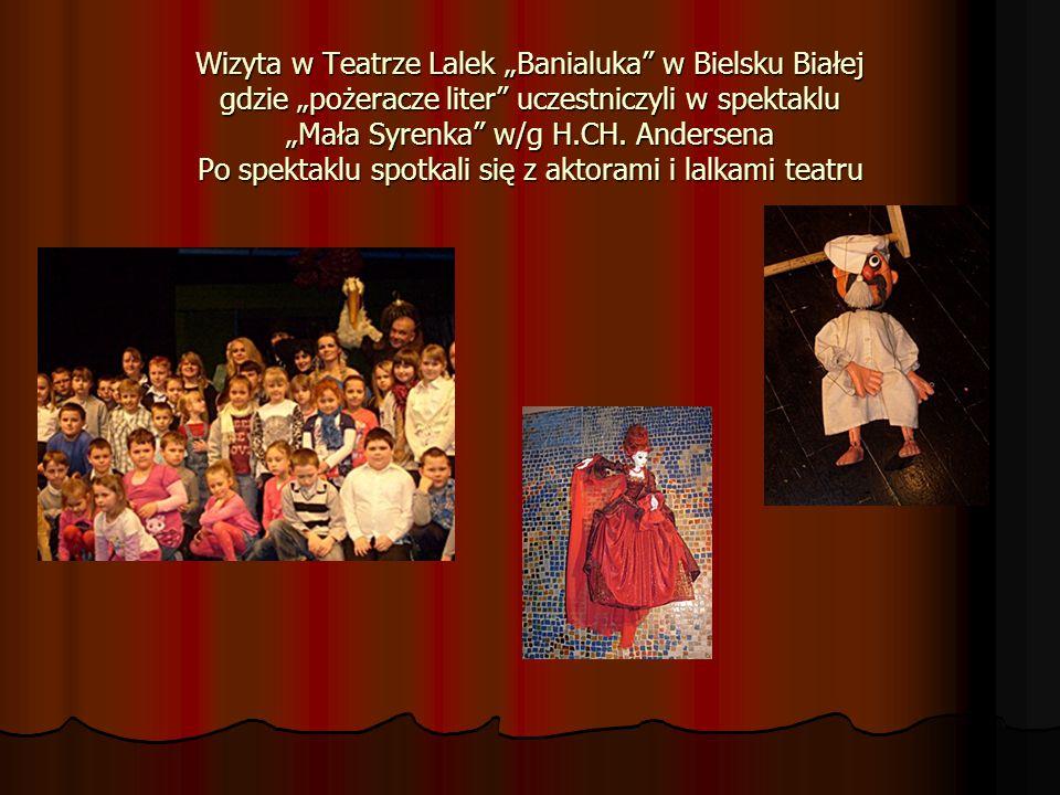 """Wizyta w Teatrze Lalek """"Banialuka w Bielsku Białej gdzie """"pożeracze liter uczestniczyli w spektaklu """"Mała Syrenka w/g H.CH."""