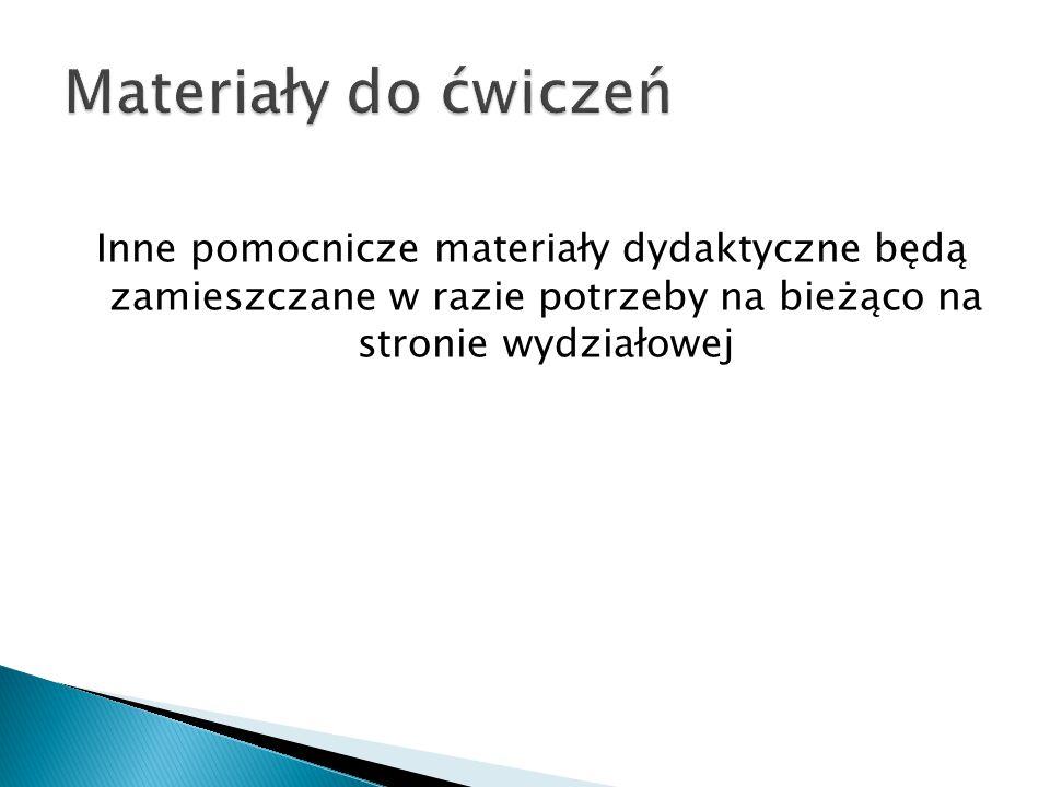 Inne pomocnicze materiały dydaktyczne będą zamieszczane w razie potrzeby na bieżąco na stronie wydziałowej